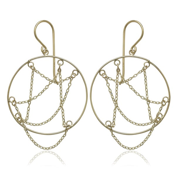 10k Yellow Gold Circle Hook Drop Earrings