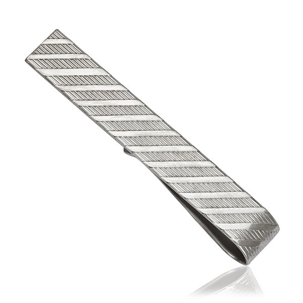 Sterling Silver Diagonal-cut Tie Bar