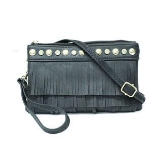 Symeli Women's Petite Rhinestone Fringe Crossbody handbag