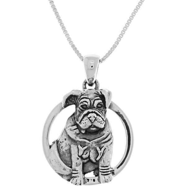 CGC Sterling Silver Bulldog Canine Dog Pendant Necklace