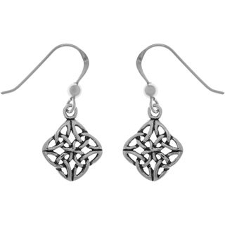 Carolina Glamour Collection Sterling Silver Fourfold Celtic Trinity Knot Dangle Earrings