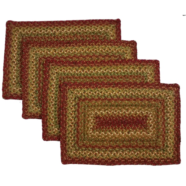 Handcrafted Red and Gold Jute Reversible Rectangle Braided Place Mat (Set of 4)