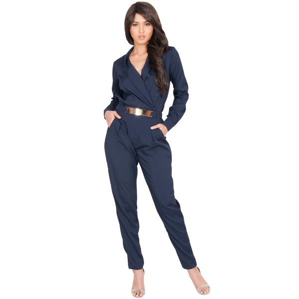 KOH KOH Women's Long Sleeve Metallic Belt Formal Chic Jumpsuit Large Size in Black (As Is Item)