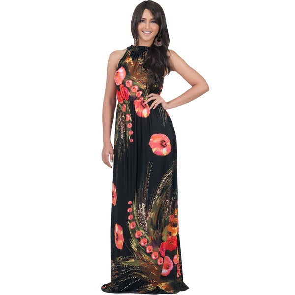 KOH KOH Women's Sleeveless Halter Neck Floral Print Maxi Dress