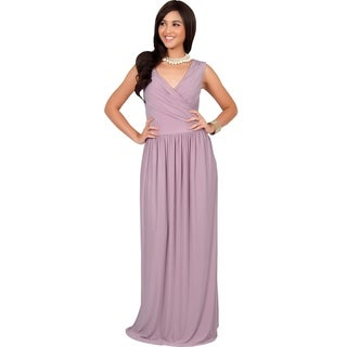 KOH KOH Women's Designer Crossover Wrap Chest Sleeveless Maxi Dress
