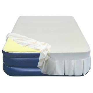 Airtek Full-size Flocked Top Airbed with 1-inch Memory Foam Topper and Skirted Sheet