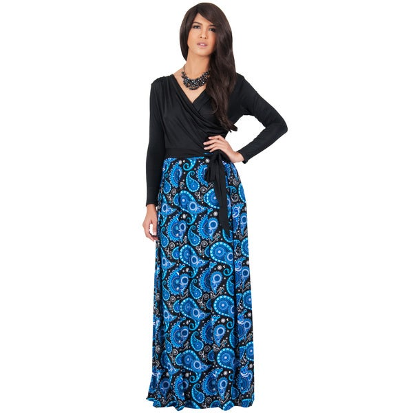 KOH KOH Women's Cross Over Long Sleeve Wrap Cocktail Maxi Dress