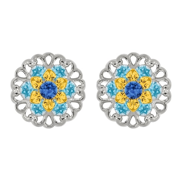 Lucia Costin Sterling Silver Blue/ Light Blue Crystal Earrings 16857896