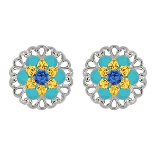 Lucia Costin Sterling Silver Blue/ Turquoise Crystal Earrings