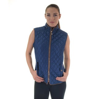 Women's Quilted Faux Fur-Lined Zip Up Vest
