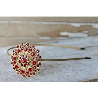 CarolineAlexander Ruby Red Recycled Brooch Rhinestone Headband