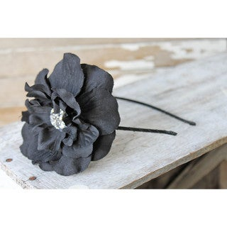 CarolineAlexander Vintage Inspired Black Flower Headband
