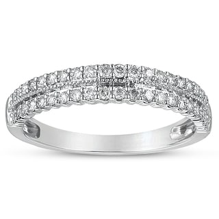 Eloquence, 14kt White Gold 1/2ct TW Double Shank Diamond Ring Band (H-I, I1+-I1)