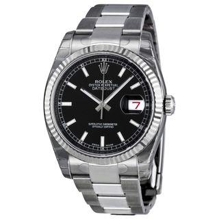 Rolex Men's m116234-0091 Datejust Black Dial Watch