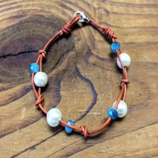 Essence Leather Pearl and Beads Bracelet
