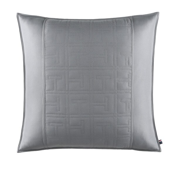 Tommy Hilfiger Academy Grey Cotton Percale Euro Sham