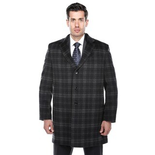 Verno Walt Black and Grey Tartan Plaid Wool Blend Overcoat