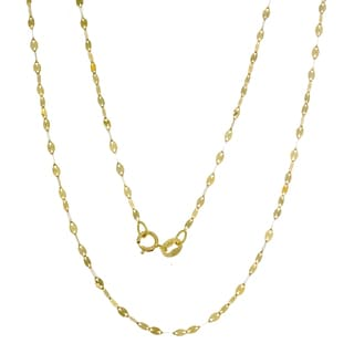 14K Gold Italian Marquise Mirror Link Chain (16-20 inches)