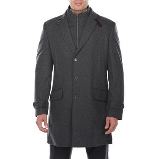 Verno Men's Dexter Dark Grey Wool Blend Overcoat with Bib