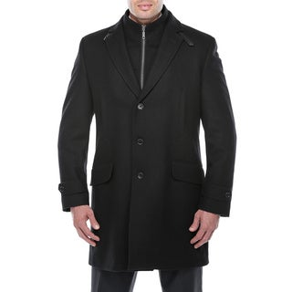 Verno Men's Dexter Black Wool Blend Overcoat with Bib