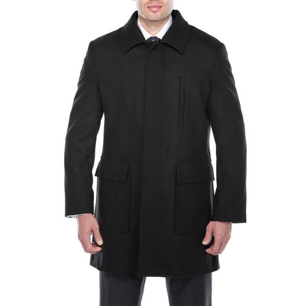 Verno Emon Men's Black Wool Blend Peacoat
