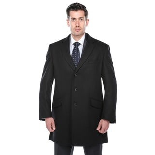Verno Walt Men's Black Wool Blend Overcoat