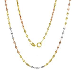 14K Tri-color Gold Italian Fatima Mirror Link Chain (16-20 inches )