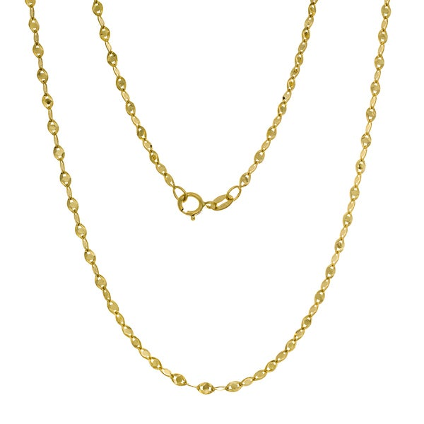14K Gold Italian Fatima Mirror Link Chain (16-20 inches )