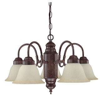 Crown Lighting Transitional 5-light Mottled Tarnished Silver Chandelier