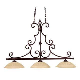Crown Lighting Traditional 3-light Mediterranean Bronze Island Fixture