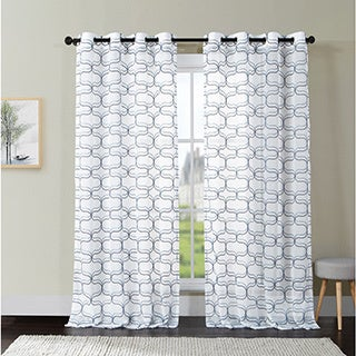 VCNY Khara Embroidered Sheer Grommet-Top Curtain Panel