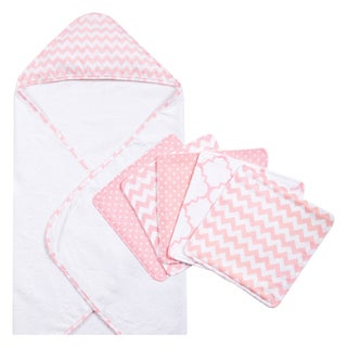 Trend Lab Pink Sky 6-piece Chevron Hooded Towel and Wash Cloth Set