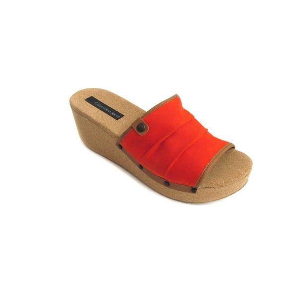 Calvin Klein Women's Yvana Waxy Linen Orange Slide Sandal US 10