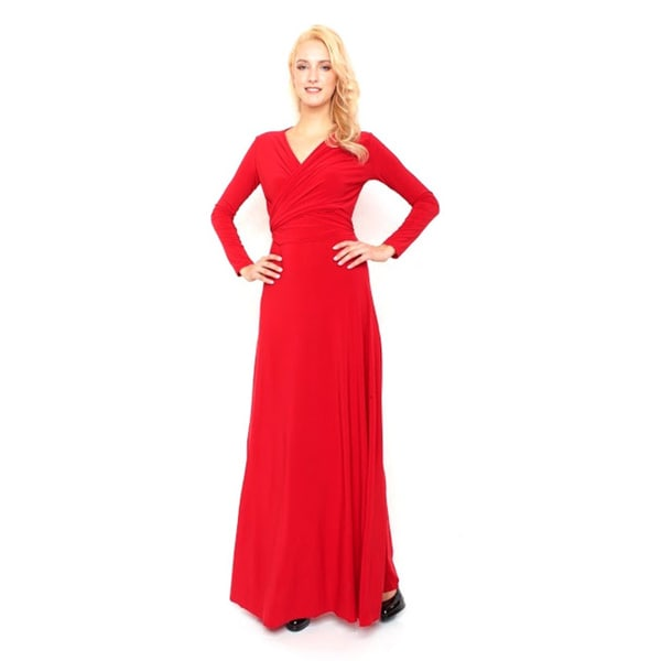 Von Ronen Victoria Long Sleeve Convertible Front to Back Maxi Dress