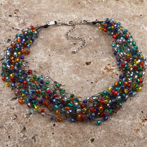 Goldtone 'The Essence of Colours' Beaded Multi-strand Necklace (India) (As Is Item)