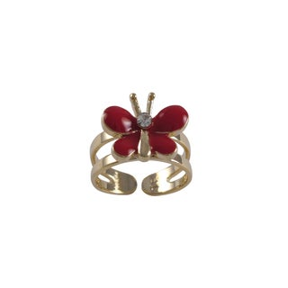 Gold Finish Crystal Red Enamel Butterfly Children's Adjustable Ring