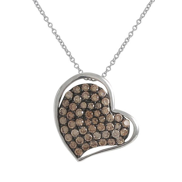 Two-tone Sterling Silver Champagne Cubic Zirconia Heart Pendant Necklace