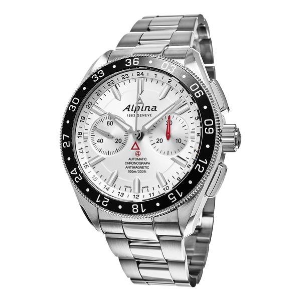 Alpina Men's AL-860S5AQ6B 'Alpiner' Silver Dial Stainless Steel Bracelet Chronograph Swiss Automatic Watch