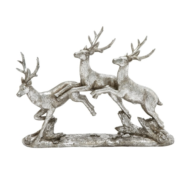 12-inch Silver Deer Sculpture