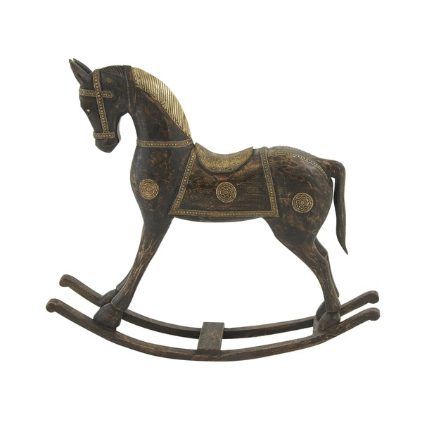 "Wood Brass Rocking Horse 36""W, 32""H"