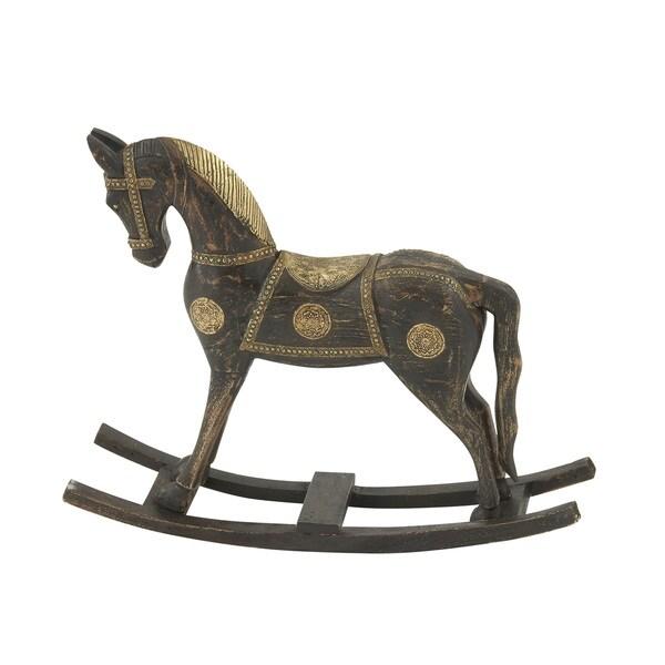 """Wood Brass Rocking Horse 30""""W, 25""""H"""
