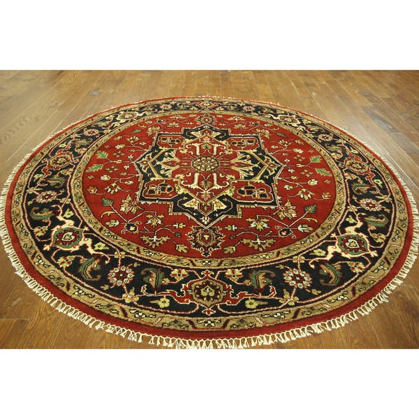 H8926 Traditional Floral Round Heriz Serapi Hand-knotted Wool Area Rug (8' Round) 16862382