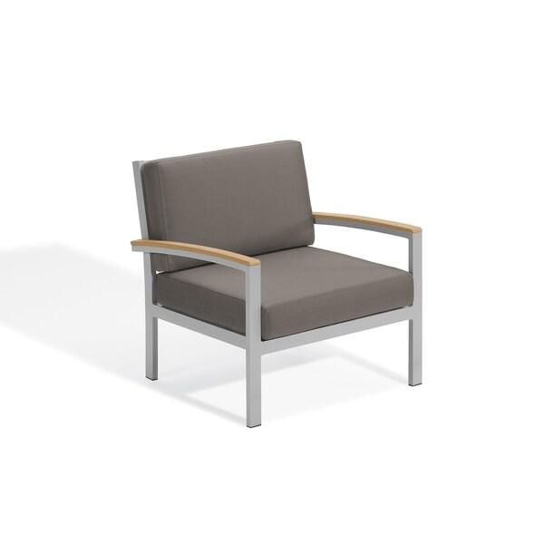 Oxford Garden Travira Club Chair - Aluminum Frame, Stone Cushion, Natural Tekwood Armcaps