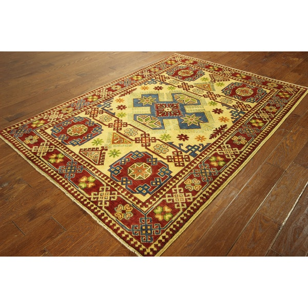 H3409 Exquisite Oriental Kazak Hand-knotted Ivory and Sienna Red Wool Rug (5' x 7')