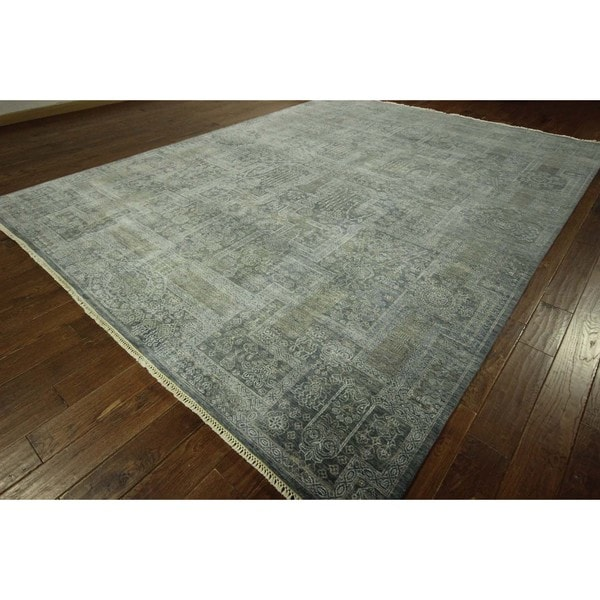 H8198 Oriental Floral Air Force Blue Hand-knotted Wool and Silk Area Rug (9' x 12')