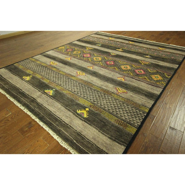 Sh8791 Navajo Design Earth Tone Amulet Motif Hand-knotted Wool Rug (8' x 10')