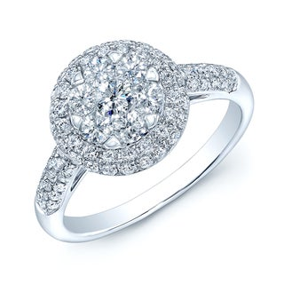 14k White Gold 1ct TDW Diamond Pave Ring (H-I, VS1-VS2)
