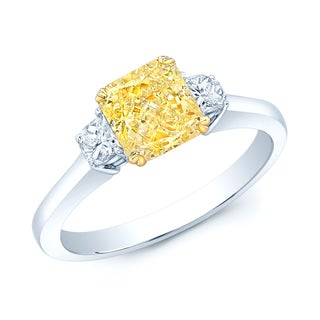 Platinum and 18k Yellow Gold 1 1/2ct GIA-certified Fancy Yellow Diamond Ring (H-I, VS1-VS2)