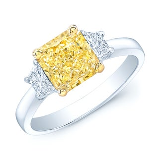 Platinum and 18k Yellow Gold 2 1/10ct GIA-certified Fancy Light Yellow Diamond Ring (H-I, SI1-SI2)