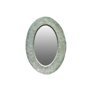 Metal Elliptical Wall Mirror Pierced Metal Design Verdigris